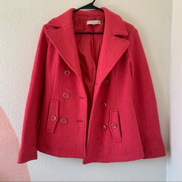BOGO FREE: NEW YORK & CO Pink wool-blend pea coat